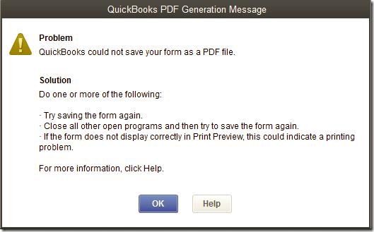 QuickBooks Unable to Create PDF