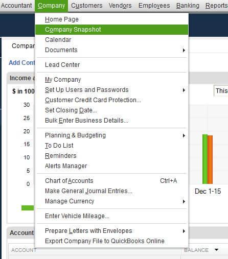Enter Vehicel Mileage drop-down menu in QuickBooks
