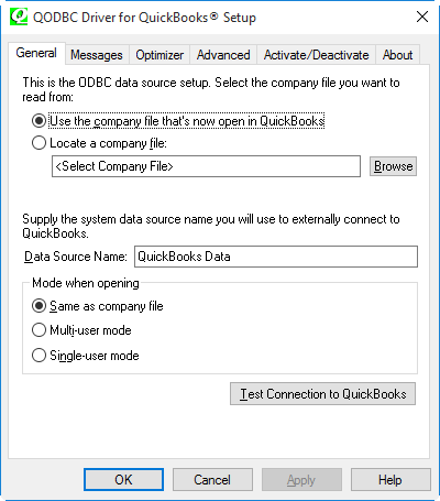 QuickBooks ODBC Driver