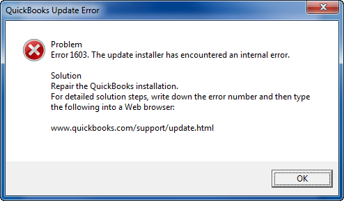 QuickBooks Error 1603 Windows 10 install error 1603