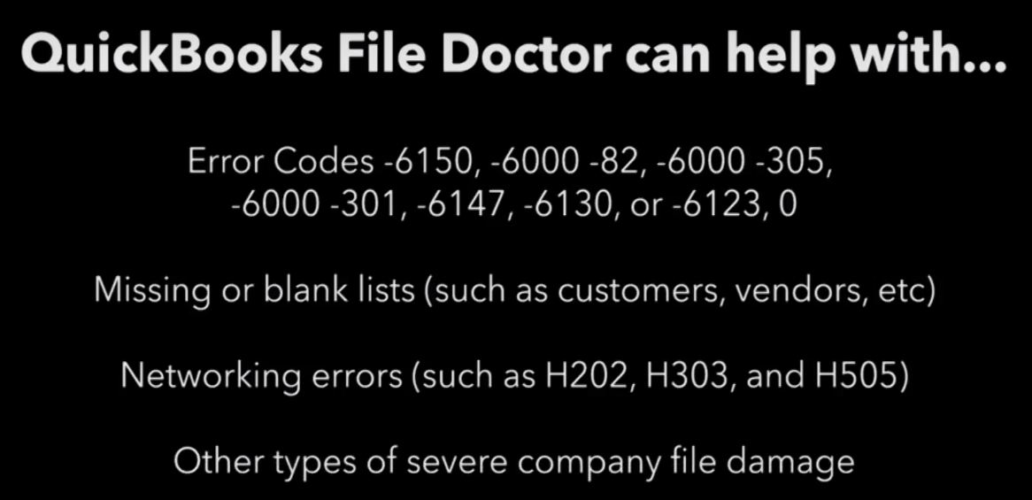 QuickBooks File Doctor Can Help With Following Errors and Issues