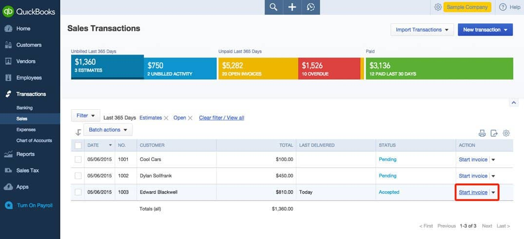 Convert an estimate into an invoice