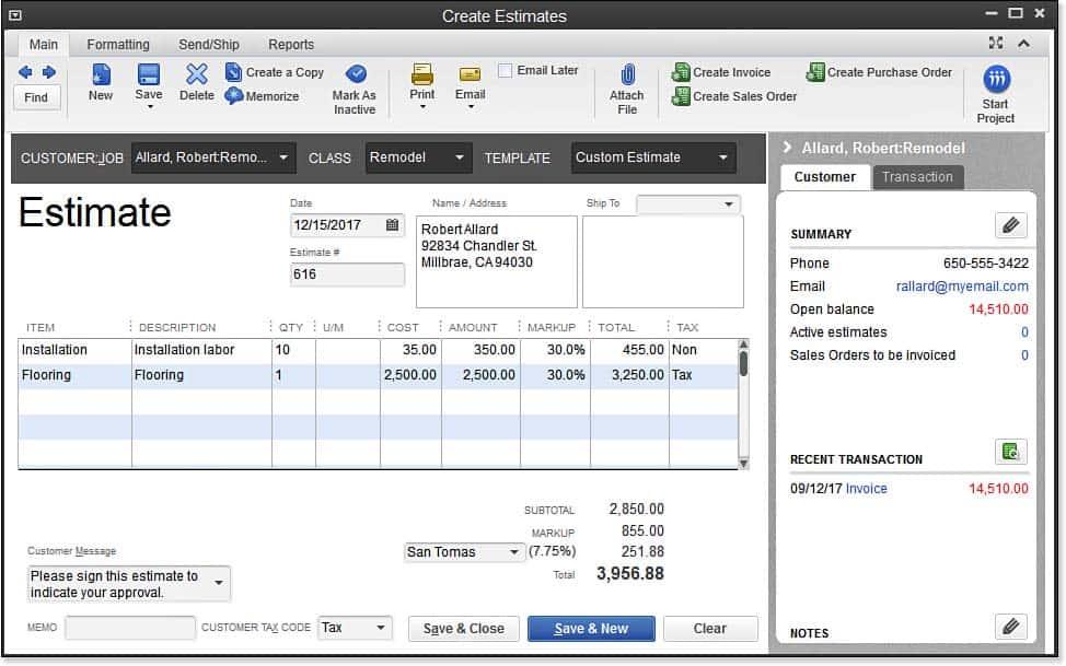 Estimate Invoice in QuickBooks Online