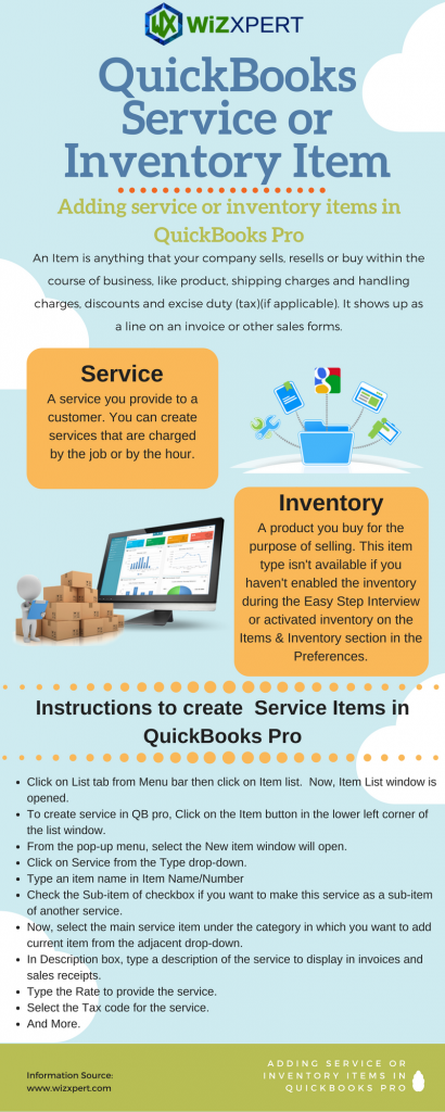 Adding service or inventory items in QuickBooks Pro
