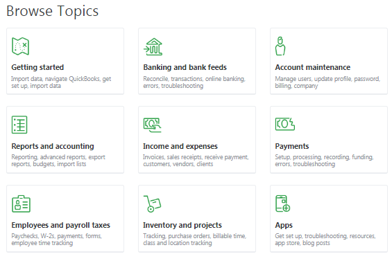 QuickBooks Browse Topic