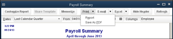 Create a Payroll Summary Report