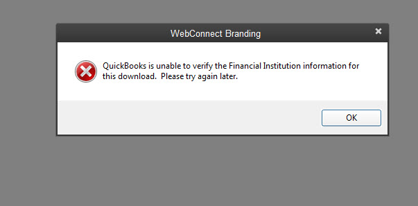 QuickBooks is unable to verify the financial institution for this download