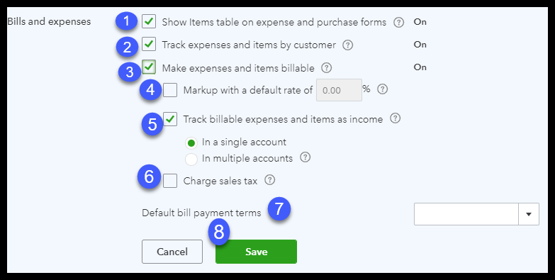 Set up expenses in QuickBooks Online