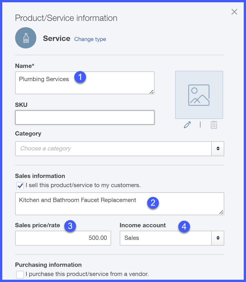 Setting up a Service Item
