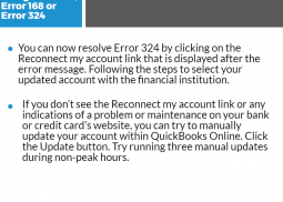 QuickBooks Online Banking Error 106,168 or 324 Infographic