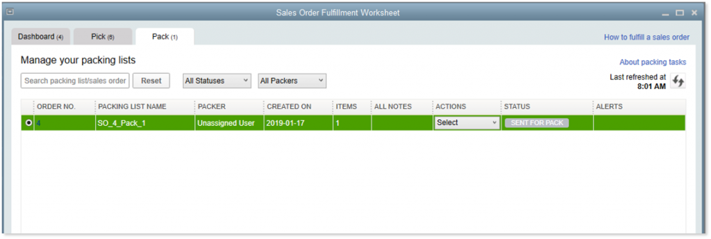 Sales Order Fulfillment Worksheet Pack Tab
