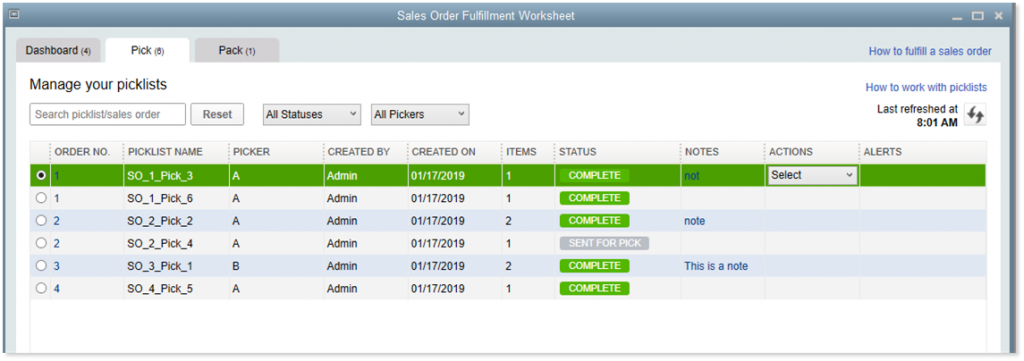 Sales Order Fulfillment Worksheet Pick Tab