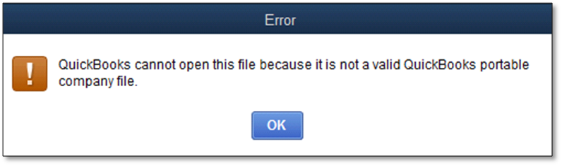 Cannot open QuickBooks Portable company file