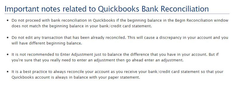Important notes related to Quickbooks Bank Reconciliation