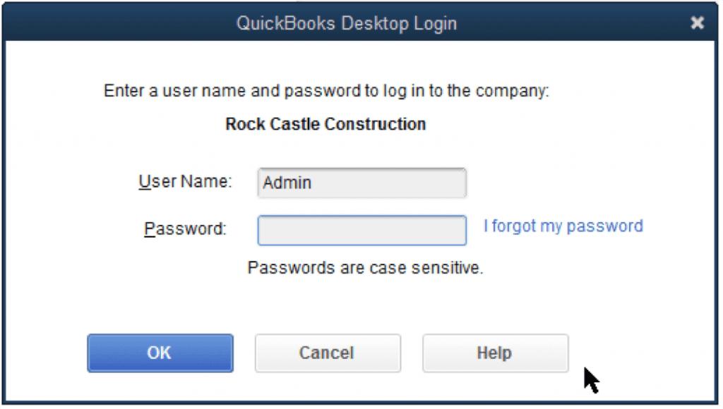 reset change QuickBooks admin password