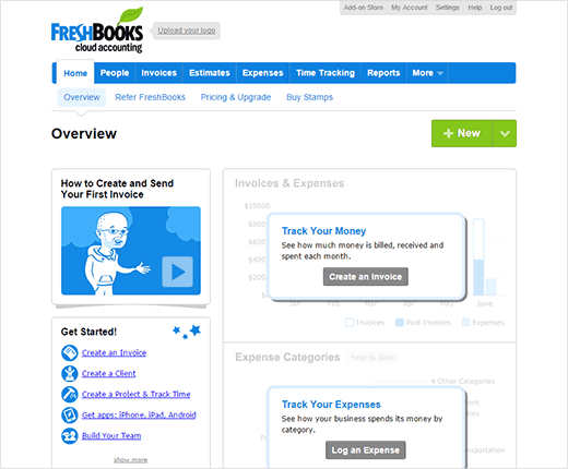 freshbooks dashboard; quickbooks alternative