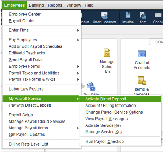 Direct Deposit Requirements, Sign up and activation for QuickBooks Payroll