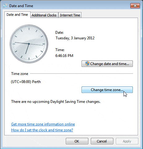 Windows Data and Time Settings