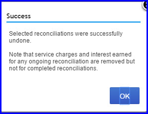 success screen to show reconcile undone