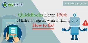 QuickBooks Error 1904 2 failed to register while installing