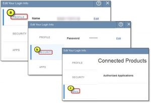 Edit your contact information or login credentials