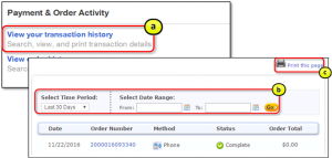 Search, view and print transaction details