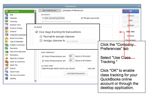 Enable class tracking option in your company profile