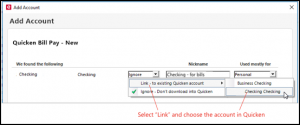 to add, select link to existing Quicken account