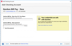 Click on Setup Quicken Bill Pay Account