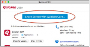 open the Quicken utility and click on the Share screen with Quicken care