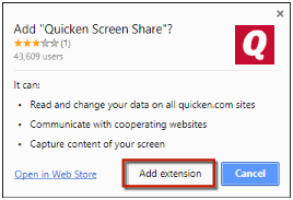 "Add extension to add the ""Screen Share"" extension to your Browser"