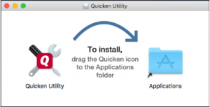 click Quicken utility window and drag the Quicken utility to Application