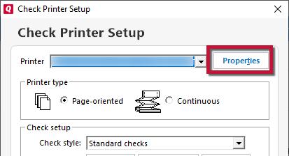 Check Printer Setup