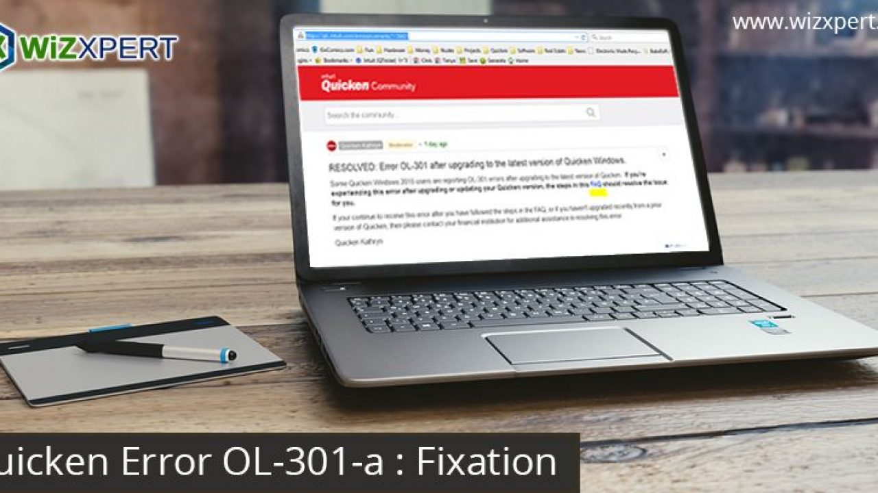 Quicken Error OL-301-a: Fixation | Learn and Support
