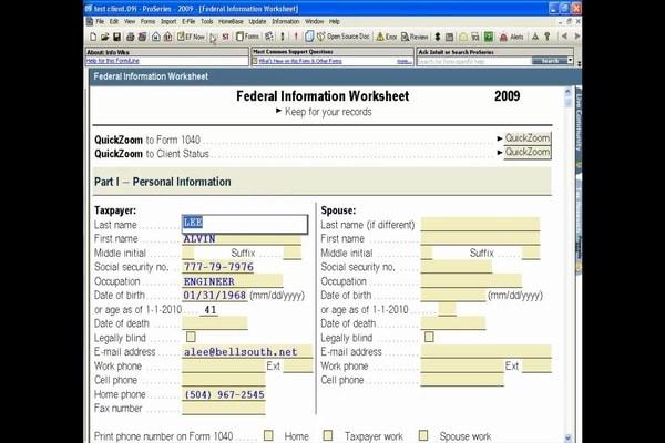 Intuit ProSeries-Client Checklist