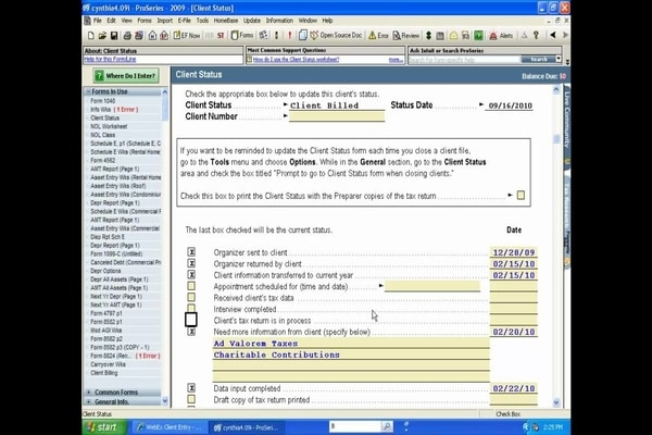 Intuit ProSeries-Client Status