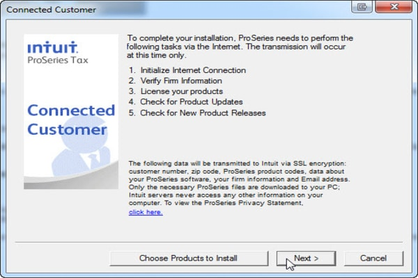 Peer-To-Peer installation of Intuit ProSeries