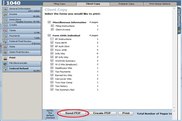 Intuit ProSeries-Password protected PDF
