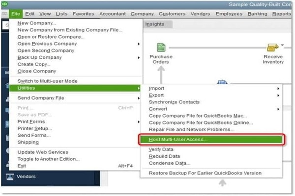 Hosting to multi-user networking in QuickBooks