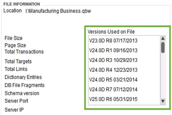 QuickBooks Desktop Version Used on Product Information Window