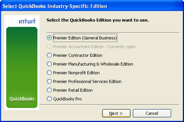 Select QuickBooks version you want to use.