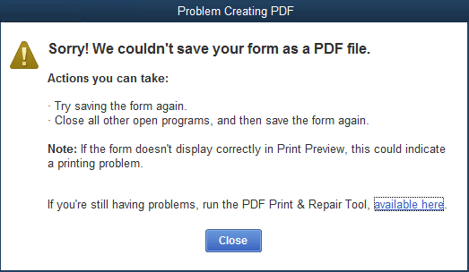 Troubleshoot PDF and Print problems with QuickBooks Desktop