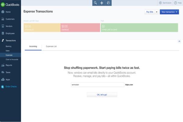 Online expense transaction