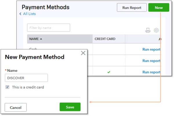 QuickBooks Online Payment methods