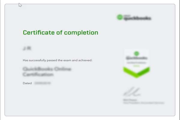 Completion Certificate; QuickBooks certification Cost