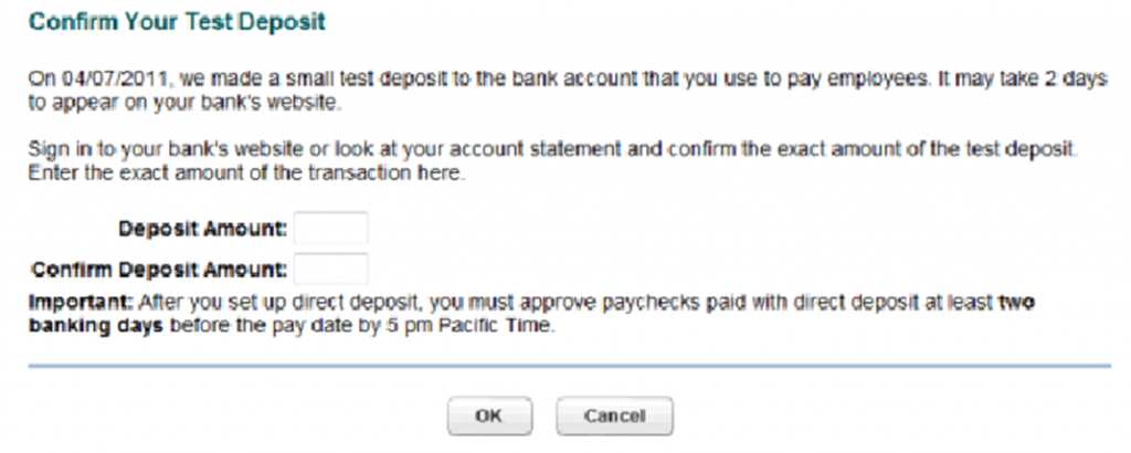 Confirm test deposit in QuickBooks Online Demo
