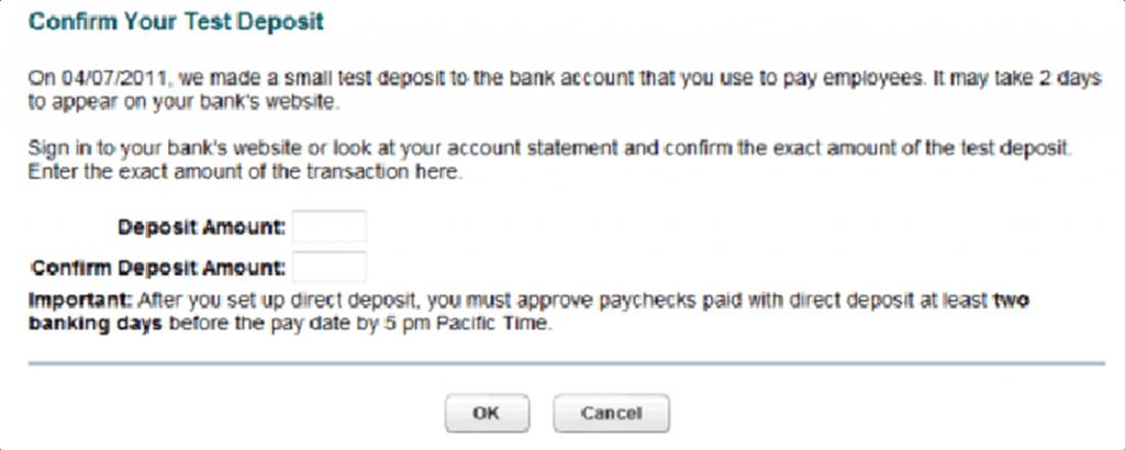 Confirm test deposit