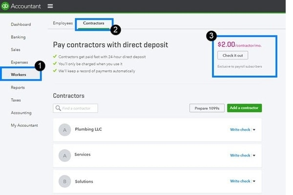 Pay contractor with direct deposit