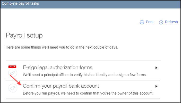 Confirm payroll bank account