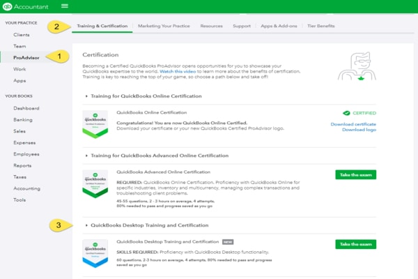 QuickBooks Desktop certification and badges